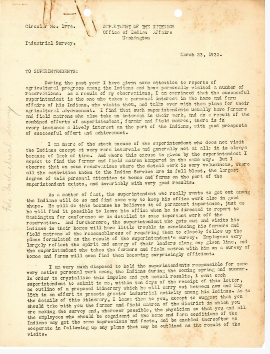 Instructions to agency superintendents for Industrial Survey. (National Archives)