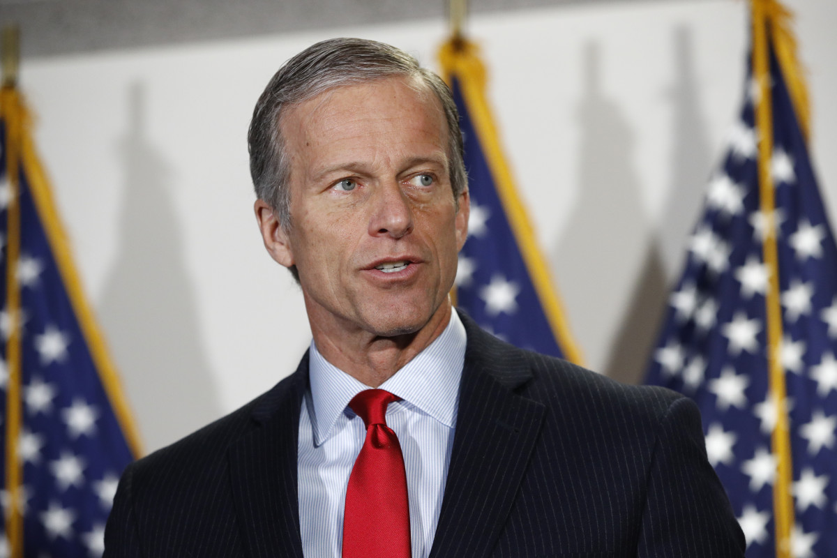 Senate Majority Whip John Thune, R-S.D., speaks with reporters after a Senate Republican weekly luncheon on Capitol Hill in Washington, Tuesday, May 19, 2020. (AP Photo/Patrick Semansky)
