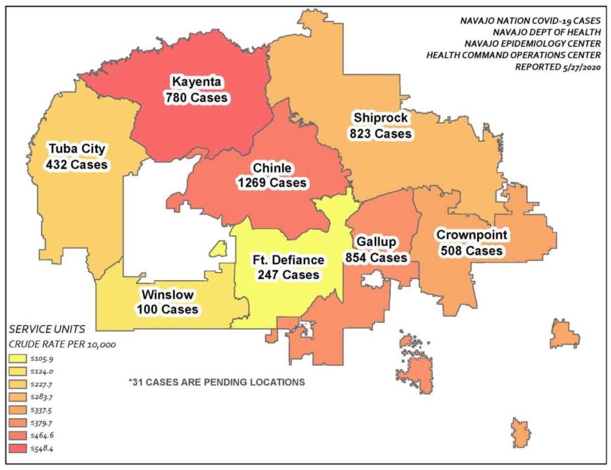 Pictured: Map of Navajo Nation COVID-19 cases.