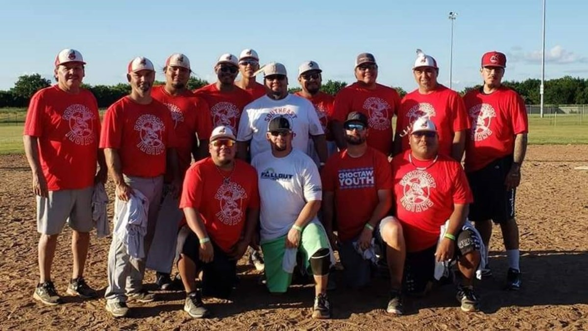 The Southeast Indians are expected to return to the All-Indian state fastpitch tournament in Oklahoma this year. Players include James Ingram, Chickasaw; Victor Smith, Chickasaw; David Lindly, Choctaw; Faron Apauty Sr., Comanche; Faron Apauty Jr., Wichita; Kevin Wilson, Choctaw; Hank Williams, Choctaw; Arizona Taylor, Choctaw; Rexton Hailey, Seminole; Maurice Cubit, Choctaw; CJ Briley, Choctaw, Glen Davidson, Choctaw; Mike Baker, Choctaw; Kyle Baker (Choctaw). (Courtesy Lisa Smith-Longman)