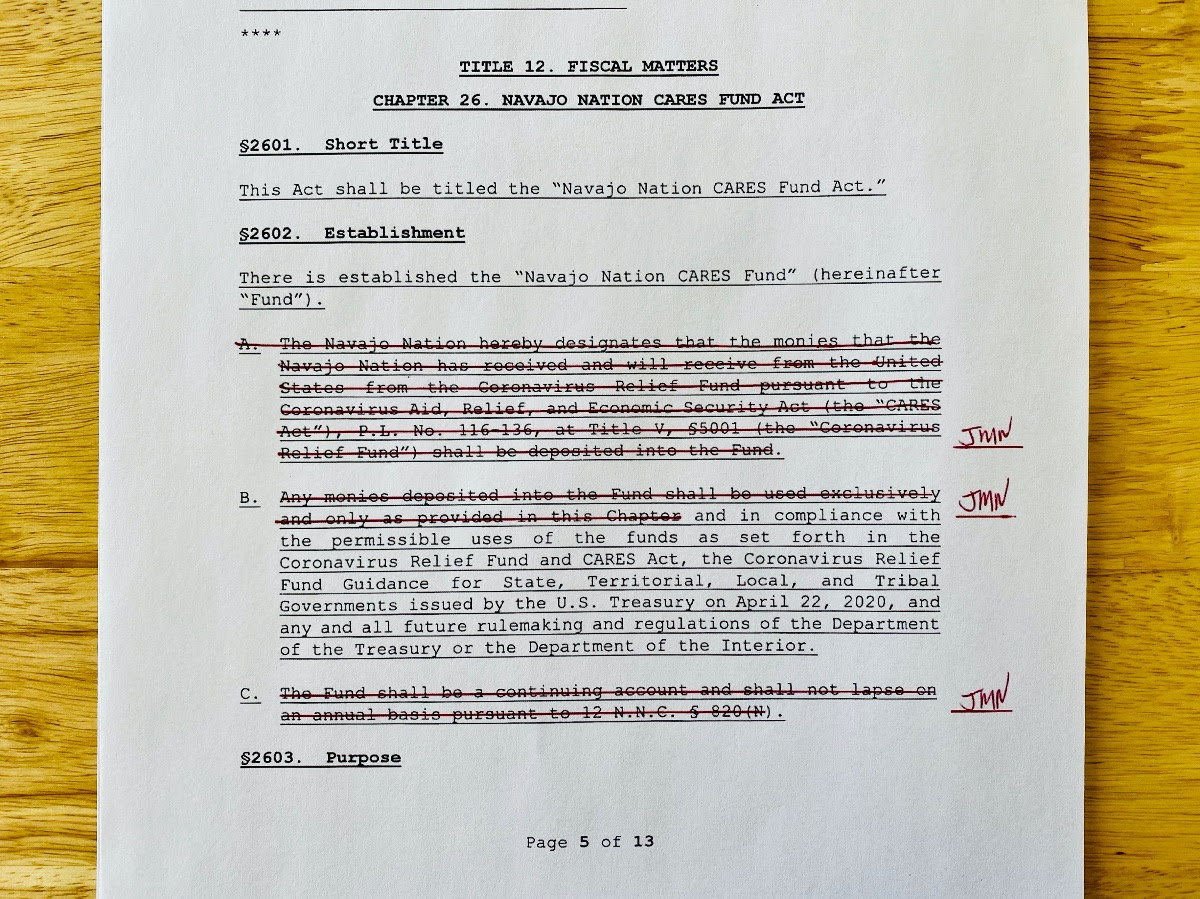 Pictured: An excerpt of Navajo Nation Council Resolution No. CMY-44-20 returned with strikes intended to be line-item vetoes issued by President Jonathan Nez on May 30.