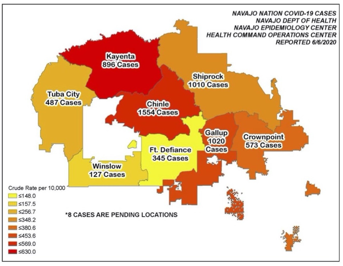 Map of Navajo Nation COVID-19 cases as reported June 6, 2020, crude rate per 10,000.