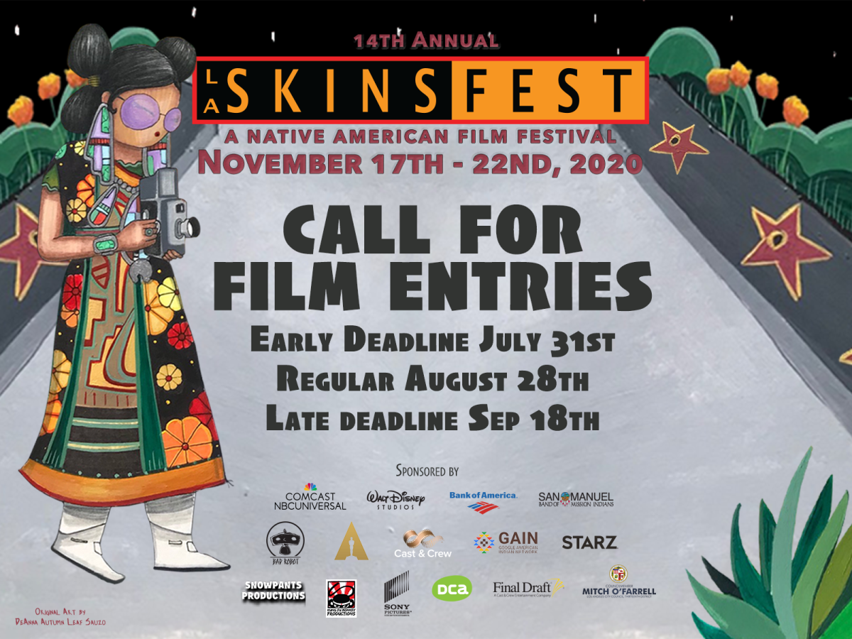 Pictured: 14th Annual LA Skins Film Fest 2020 call for film entries postcard.