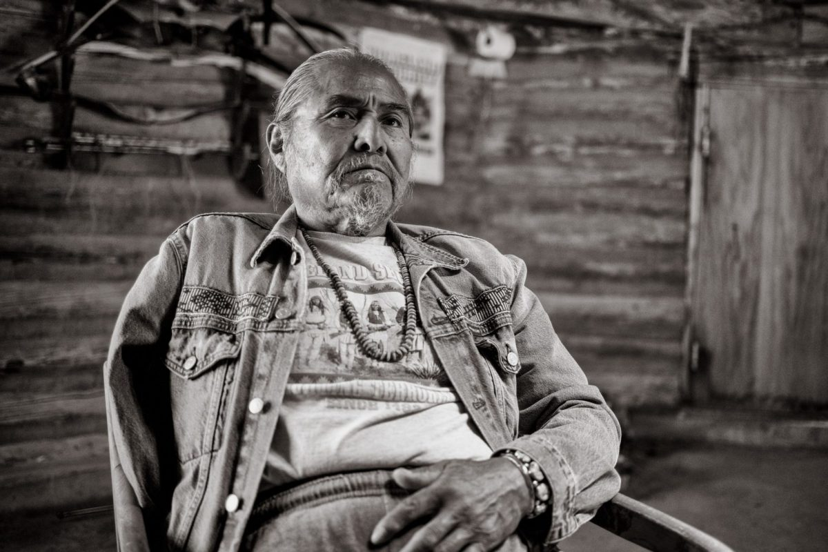 """Duane """"Chili"""" Yazzie, president of the Shiprock Chapter of the Navajo Nation, in his ceremonial hogan outside of Shiprock. (Photo by Don J. Usner, Searchlight New Mexico)"""