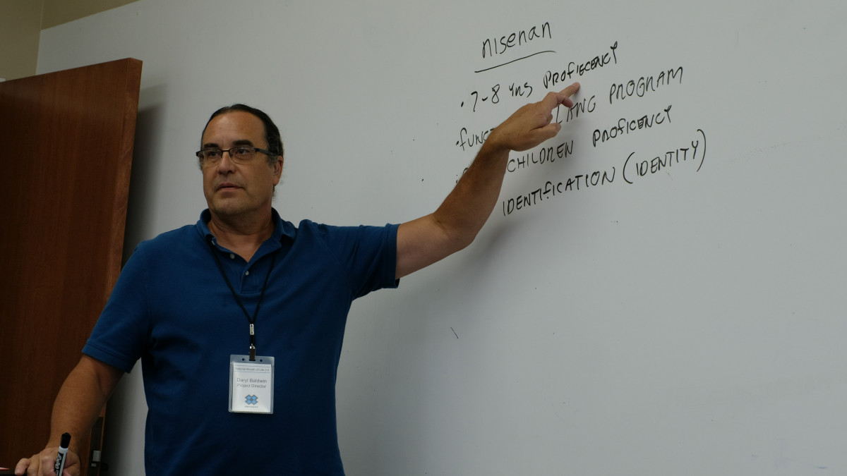 Daryl Baldwin, director and co-founder of the Myaamia Center, a Miami Tribe of Oklahoma language and research initiative, at Miami University, teaches a Myaamia language class.