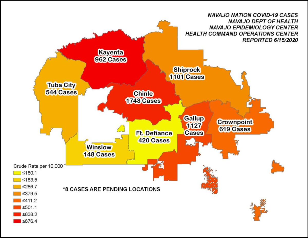Pictured: Map of Navajo Nation COVID-19 cases as reported June 16, 2020, crude rate per 10,000.