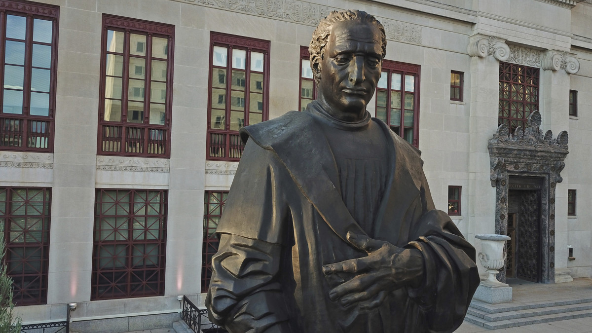 In this Sept. 12, 2019 photo, a statue of Christopher Columbus sits in front of City Hall in Columbus, Ohio. Columbus Mayor Andrew J. Ginther announced on Thursday, June 18, 2020 that the statue at will be removed as soon as possible and placed in storage. (Doral Chenoweth III/The Columbus Dispatch via AP)