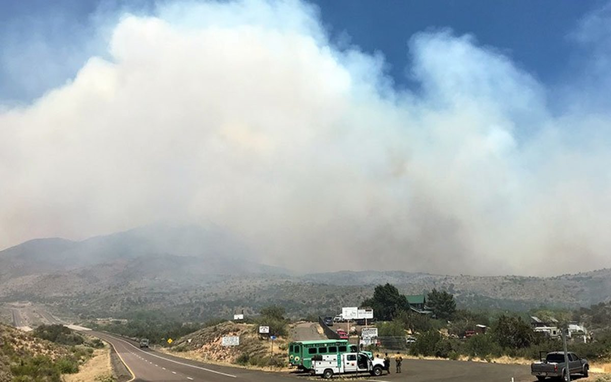Winds, dry conditions and high temperatures are fueling the Bighorn Fire. (Photo courtesy of Tonto National Forest)