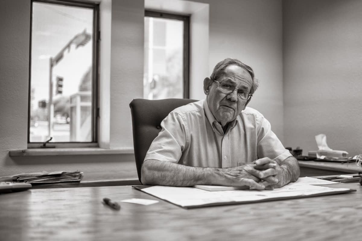 Mayor Louie Bonaguidi in his office in Gallup. (Photo by Don J. Usner, Searchlight New Mexico)
