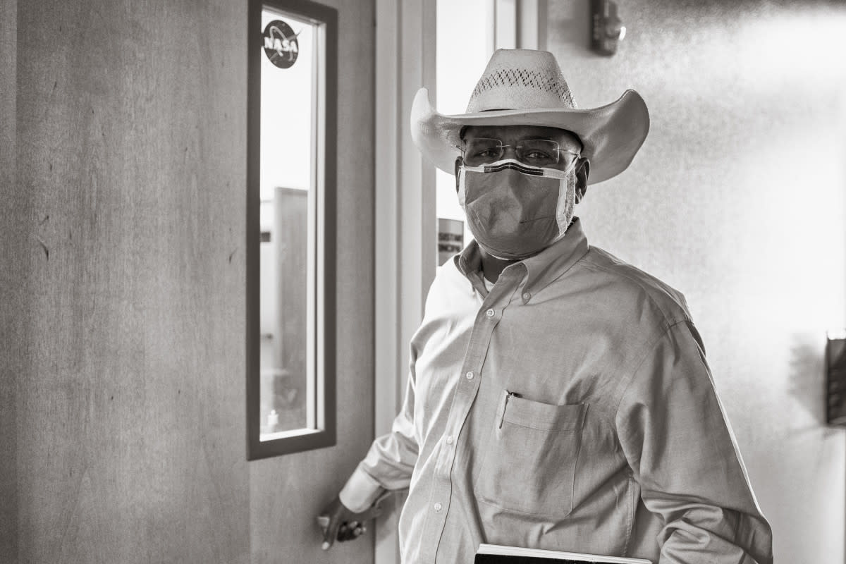 Sanjay Choudhrie outside his office in Gallup's health care overflow center, set up in a local high school. (Photo by Don J. Usner, Searchlight New Mexico)