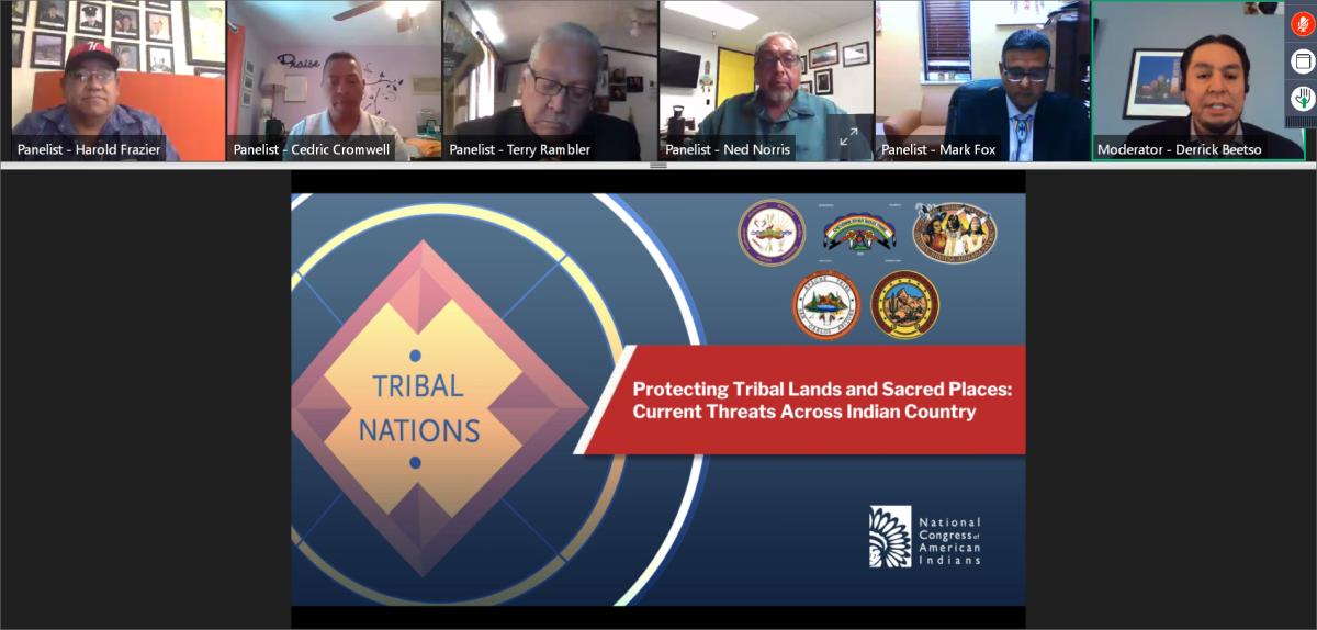 """Tribal chairmen take part in NCAI webinar on """"Protecting Tribal Lands and Sacred Places: Current Threats Across Indian Country"""" (screenshot)"""
