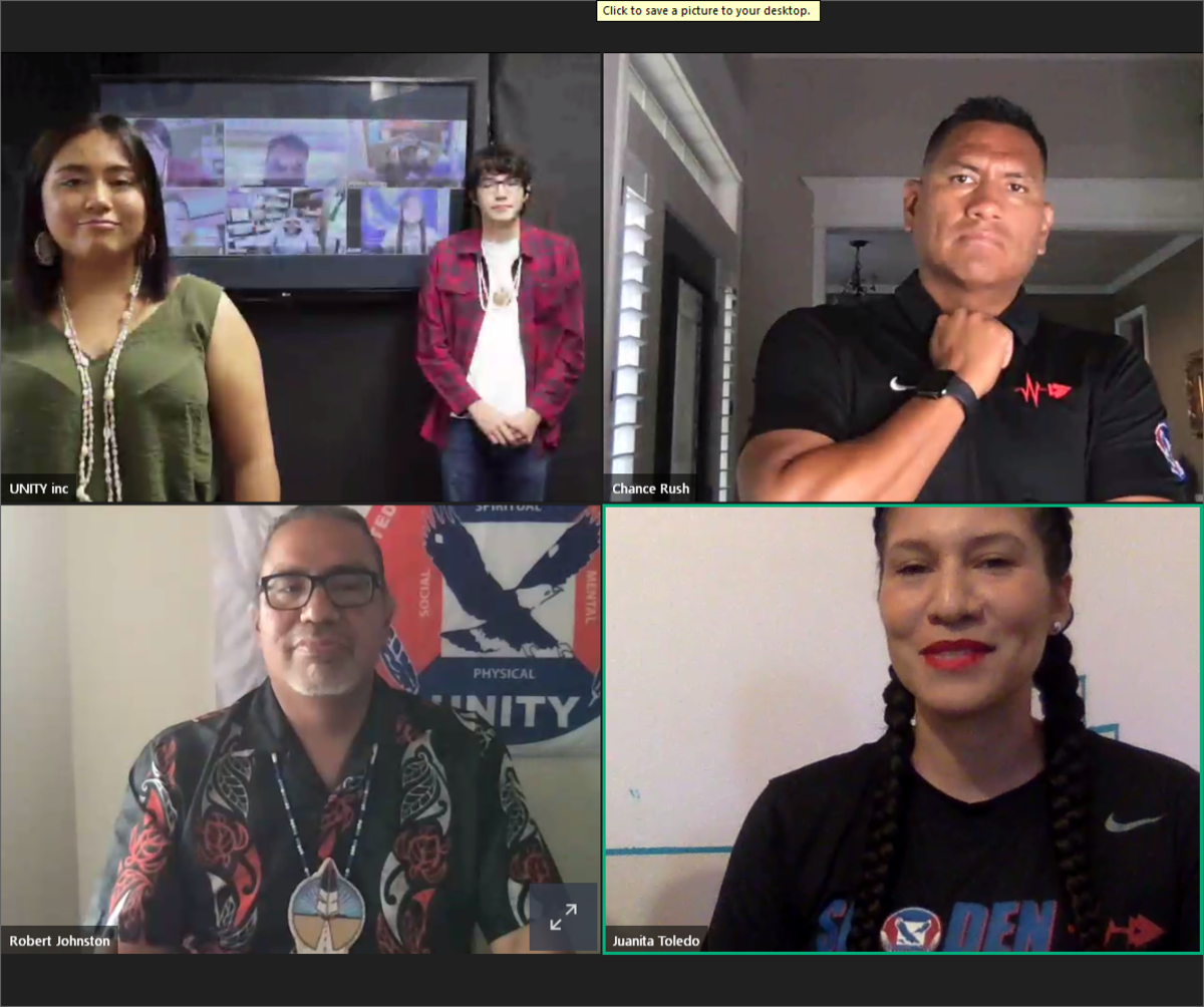 A screen shot of the 2020 UNITY virtual national conference on June 25. The conference lasted about 90 minutes and included messages from youth leaders, U.S. Reps. Deb Haaland and Sharice Davids and actor Tatanka Means.
