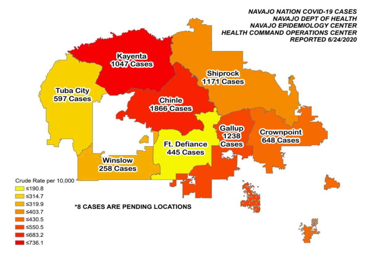 Pictured: Map of Navajo Nation COVID-19 cases as reported June 25, 2020.