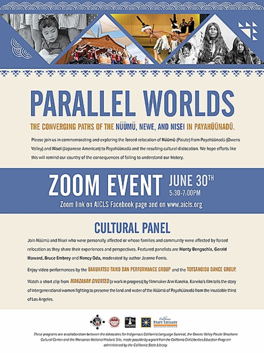 Flyer for June 30, 2020 Zoom event commemorating and exploring the forced relocation of Nüümu (Paiute) from Payahüünadü (Owens Valley) and Nisei (Japanese American) to Payahüünadü and the resulting cultural dislocation.