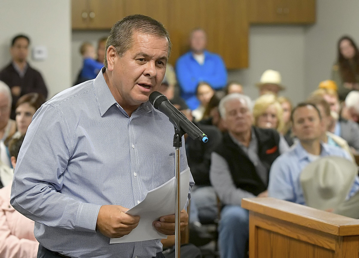 This Sept. 20, 2017, file photo shows Darren Parry, chairman of the Northwestern Band of the Shoshone Nation, speaking during a city council meeting in Wellsville, Utah. Parry announced he will run as a Democrat for Utah's First Congressional District. (Eli Lucero/The Herald Journal via AP)
