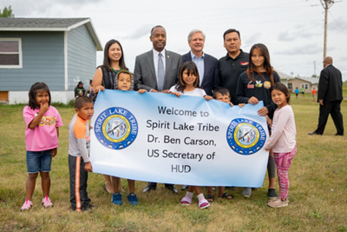 Ben Carson, middle left, visits the Spirit Lake Tribe in North Dakota (Photo Courtesy Department of Housing and Urban Development)