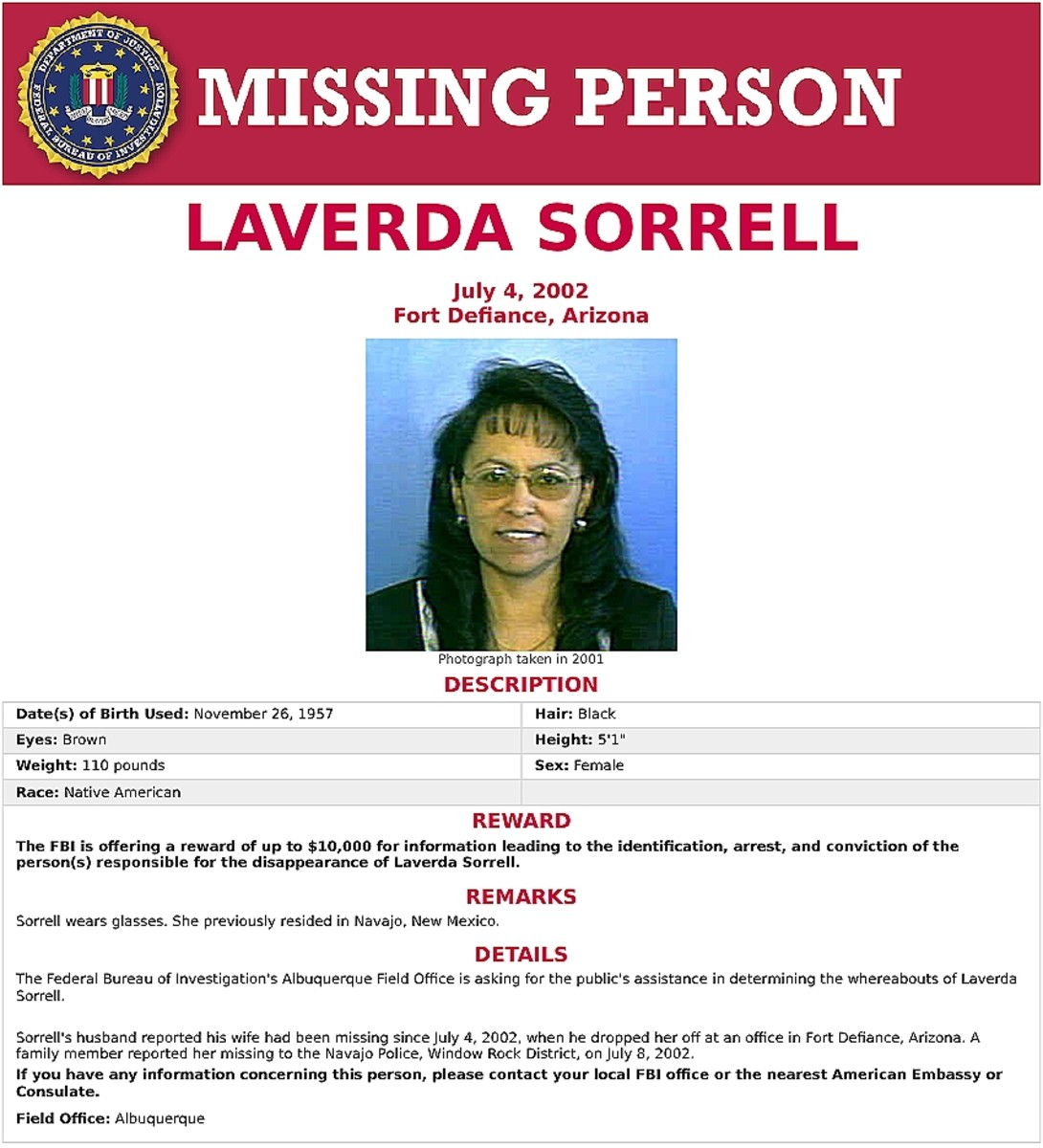 Pictured: Laverda Sorrell FBI missing person poster.