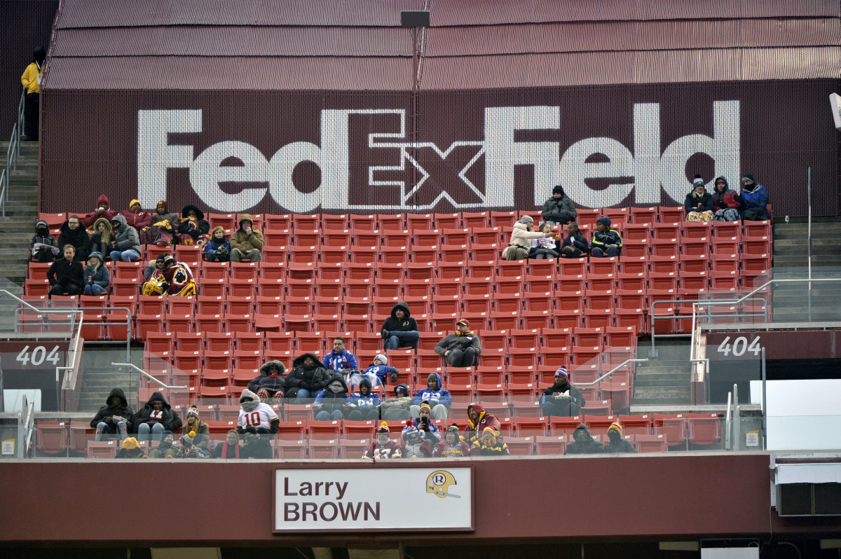 "Dec. 9, 2018, file photo, FedEx Field is less than full during the second half of an NFL football game between the Washington Redskins and the New York Giants in Landover, Md. The title sponsor of the Redskins' stadium wants them to change their name. FedEx said in a statement Thursday, July 2, 2020, ""We have communicated to the team in Washington our request that they change the team name."" (AP Photo/Mark Tenally, File)"