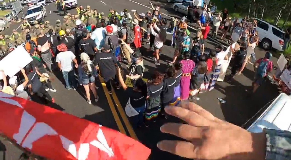 Native groups and other protesters block a highway leading to Mount Rushmore ahead of President Donald Trump's speech at the monument Friday, July 3, 2020. (Screenshot: NDN Collective via Facebook)