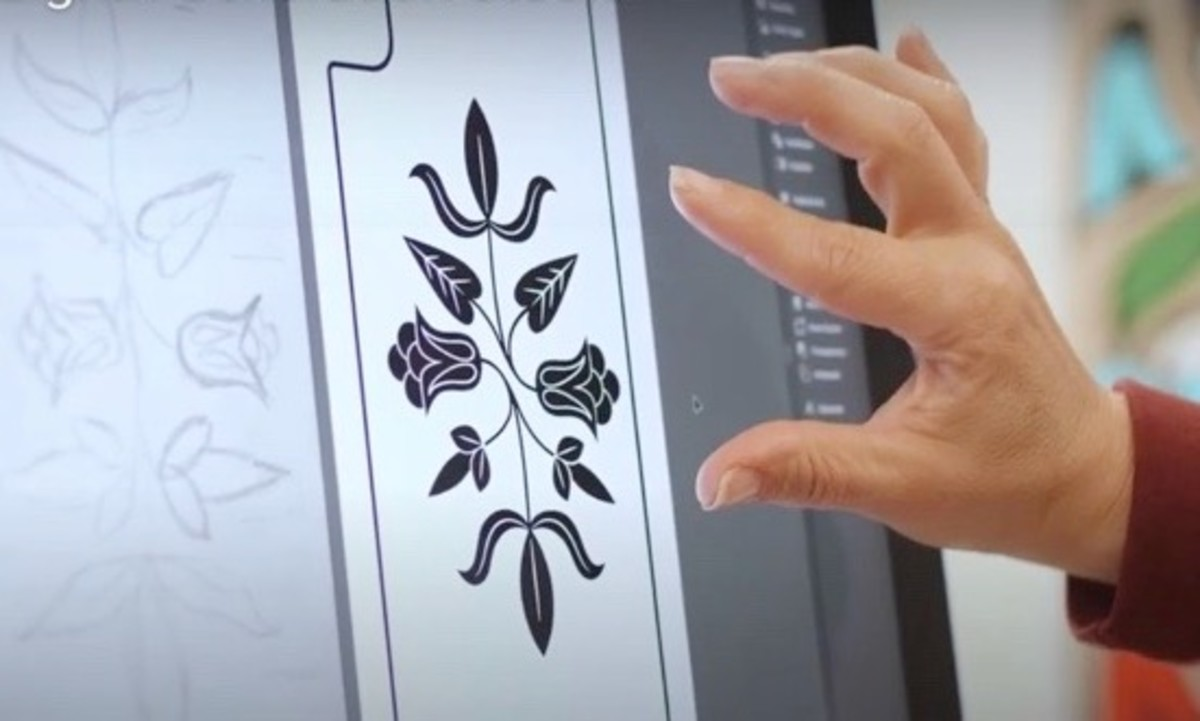 Shown here: a design created from a sketch by Sarah Agaton Howe, Ojibwe, that was used on a Birch Bloom phone case. (Screenshot of a biographical video).