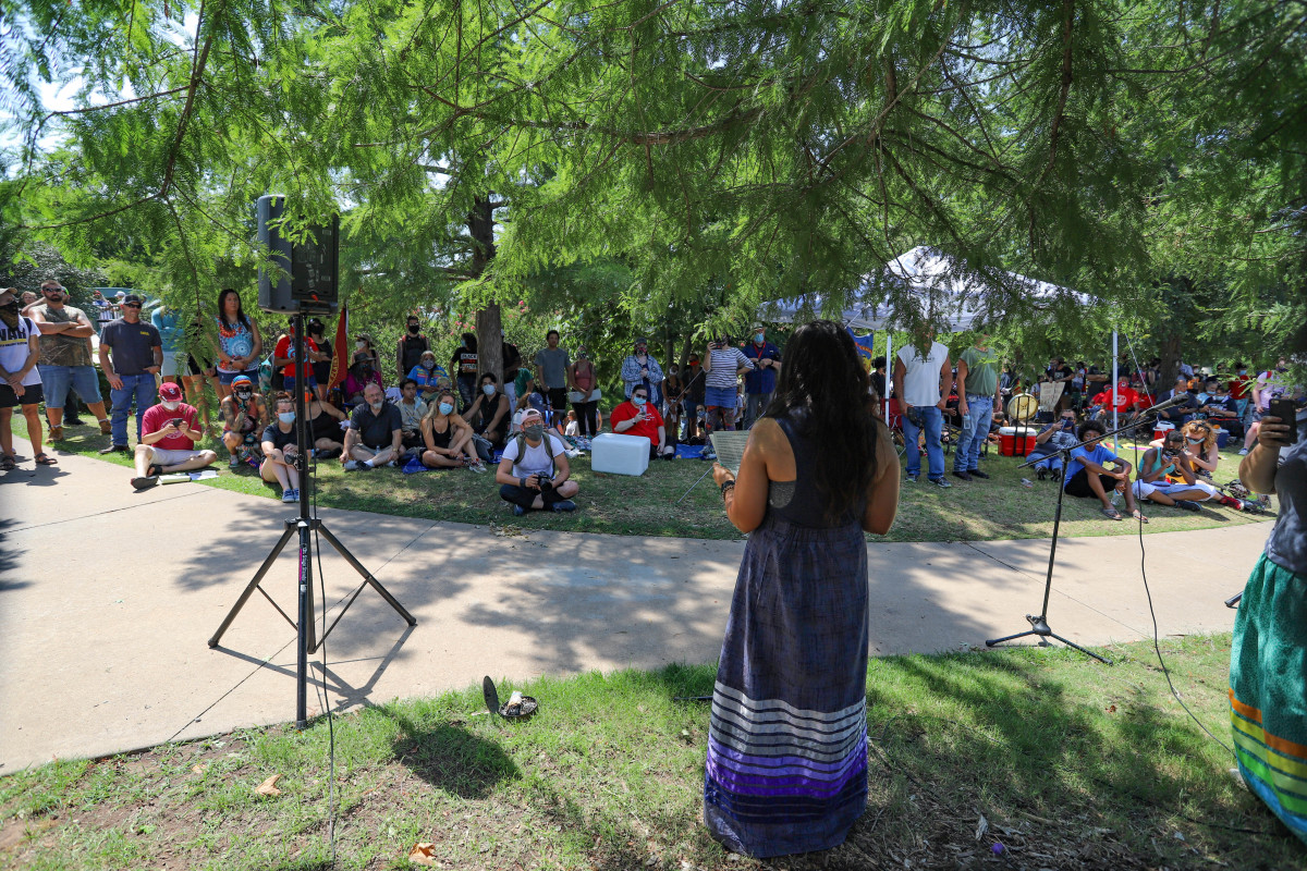 Many organizations, including Black Lives Matter Oklahoma City, the Oklahoma Council on Indian Education, and Matriarch, participated in the Centennial Land Run monument sit-in organized by the Society to Protect Indigenous Rights & Indigenous Treaties (S.P.I.R.I.T) on July 11, 2020 in Oklahoma City. (Photo by Ginny Underwood)