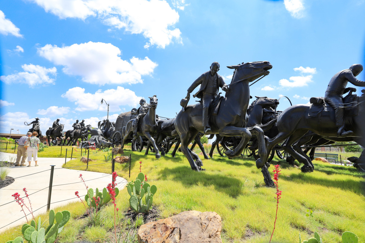The $6.2 million bronze structure, the largest such monument in the United States, features 47 statues depicting an 1889 land run. (Photo by Ginny Underwood)