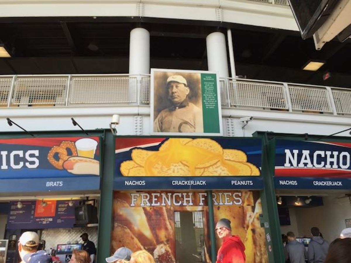 A portrait of Louis Sockalexis, purported to be the inspiration for the Cleveland Indians name, hangs on the backside of Progressive Field near the concession stands. File photo by Mary Annette Pember