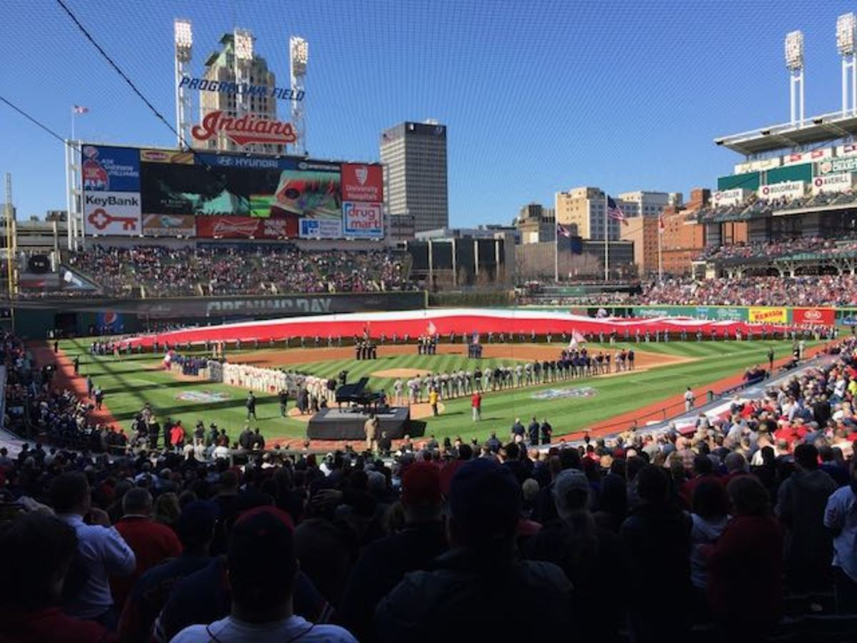 Progressive Field in Cleveland on opening day. File photo by Mary Annette Pember