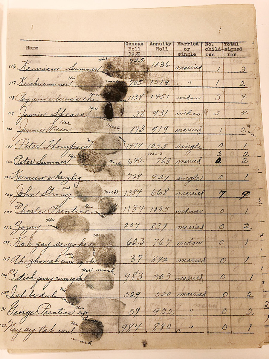 """Thumbprints from Native parents were used to """"sign over"""" Indian treaty and trust funds to Catholic mission schools throughout the 20th century. Photo by Mary Annette Pember"""
