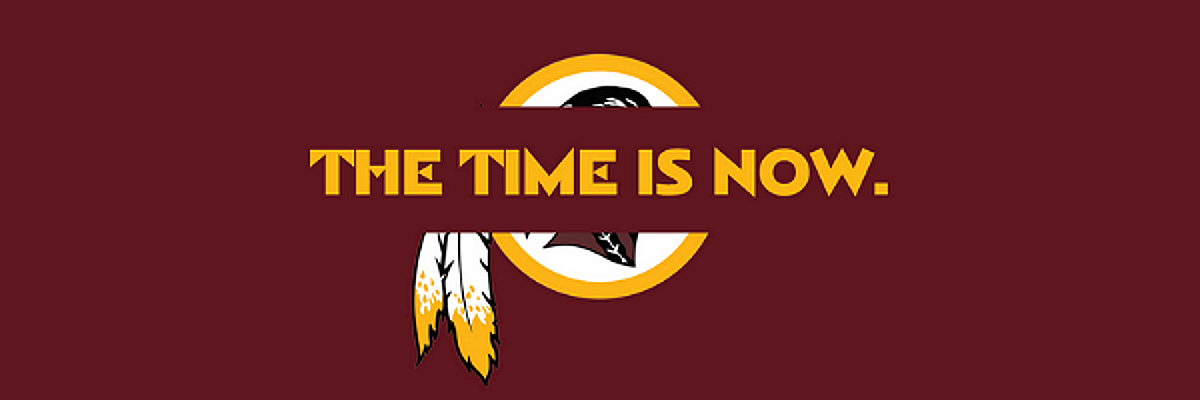 Pictured: The Time Is Now - abolish Native mascots image.