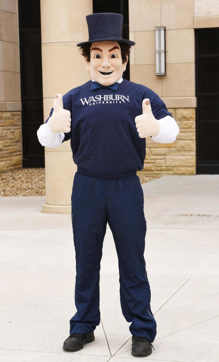 Ichabod, mascot of Washburn University, poses for a photo before attending college fairs in 2017. (Photo from Washburn University, Facebook)