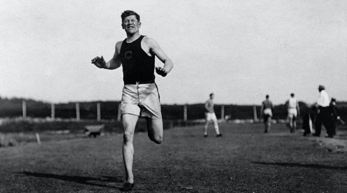 Cropped to 16x9: Jim Thorpe, Sac and Fox, in Carlisle Indian School track uniform, running at Stockholm in Olympic track practice. (Photo courtesy of Cumberland County Historical Society)