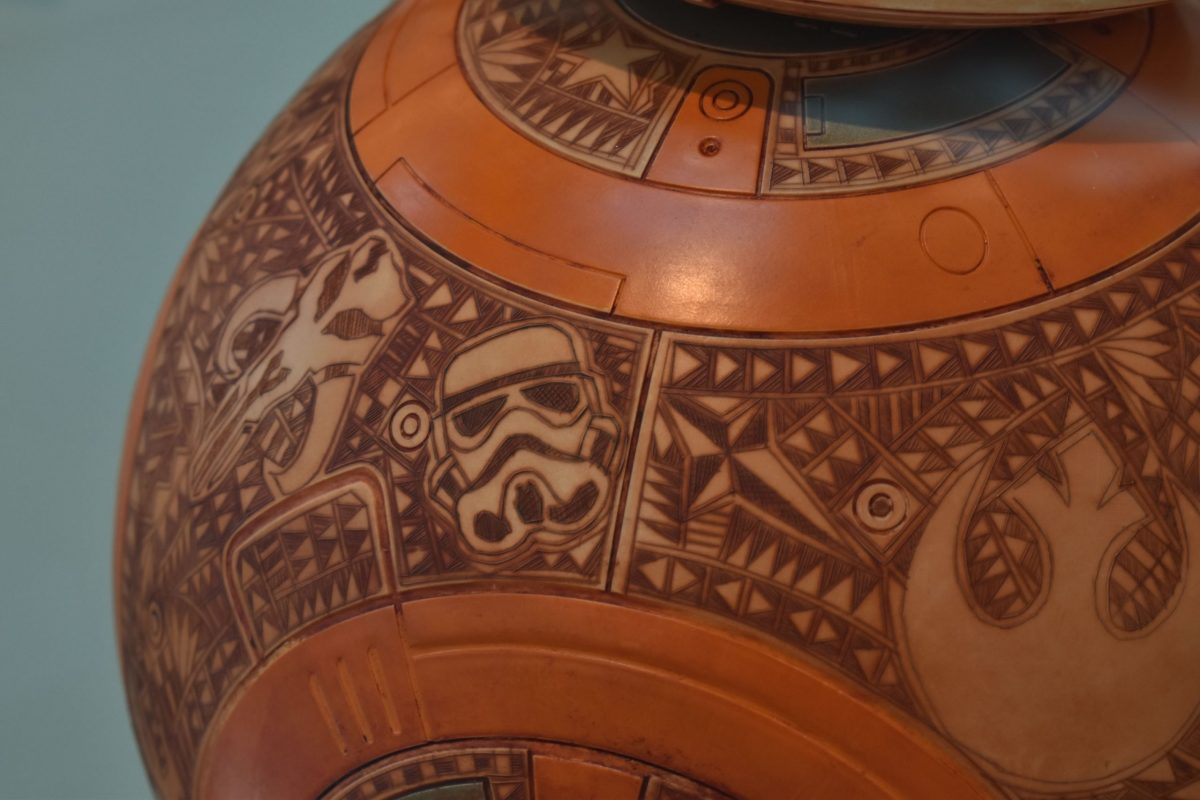 """A stormtrooper appears in a detail on the BB-8 droid – revealed in later movies in the """"Star Wars"""" franchise – designed by Rod Velarde, a Jicarilla Apache. (Photo by Kelly Richmond/Cronkite News)"""