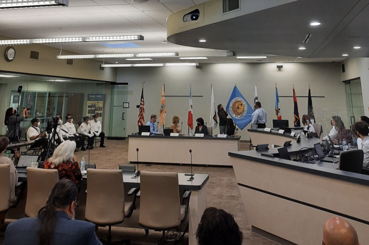A Sept. 15, 2021 ceremony unveiling five tribal flags that will be on display at the Tempe Union High School District's governing board room. (Photo courtesy of Ismael Osu)