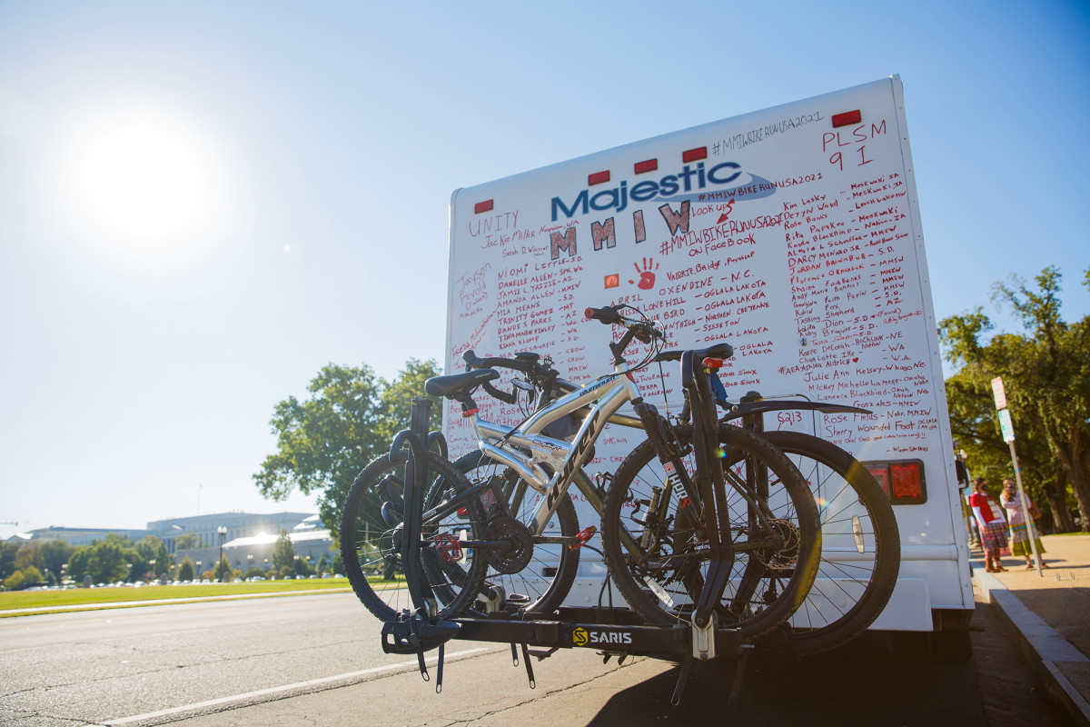 Bikes used in the MMIW Bike Run USA, which went coast to coast to bring attention to the issue of missing and murdered Indigenous women. The group drove from reservation to reservation where they would take down the bikes to ride, and run, and add more names to the motor home. (Photo by Diannie Chavez/Cronkite News)