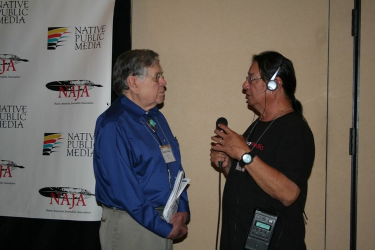 Chuck Trimble and Gary Fife (with microphone)