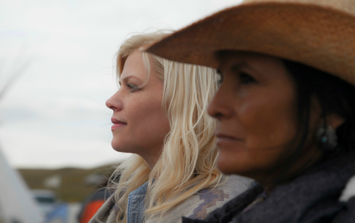 (From l to r) Producer and director Shannon Kring with Camille Nighthorse (Hualapai) at Standing Rock. (Photo credit Eddy Webb.)