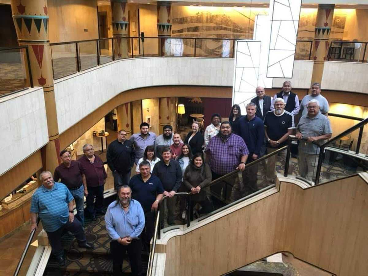 Pictured: Saxman City Council and Mayor, the Organized Village of Saxman, and Cape Fox Corporation attended a historic meeting focusing on community development and the revitalization of Saxman, Alaska.