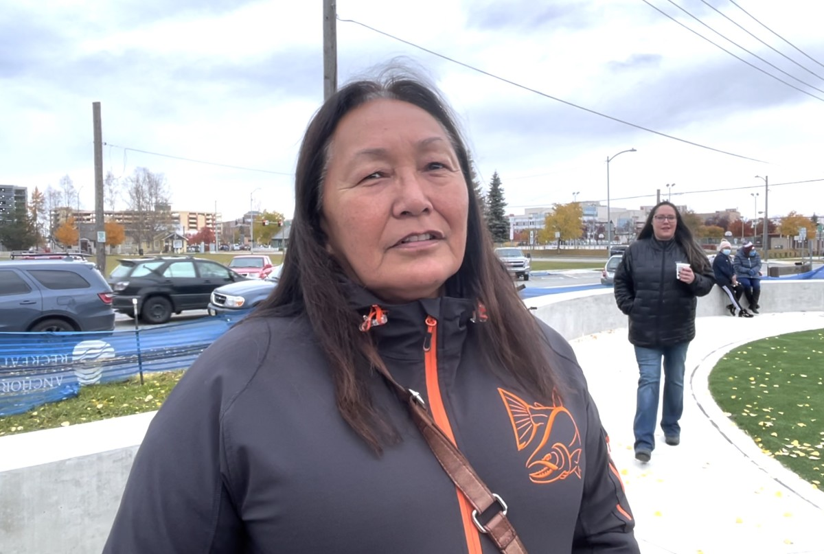 Marilyn Balluta, Dena'ina Athabascan, served on the Alaska Native Advisory Design committee for renovated playground in Anchorage, Alaska. The revamped playground incorporates Alaska Native art and themes. The Parks Foundation and Municipality of Anchorage held a grand opening of the park on Oct. 11, 2021 (Photo from video by Joaqlin Estus)