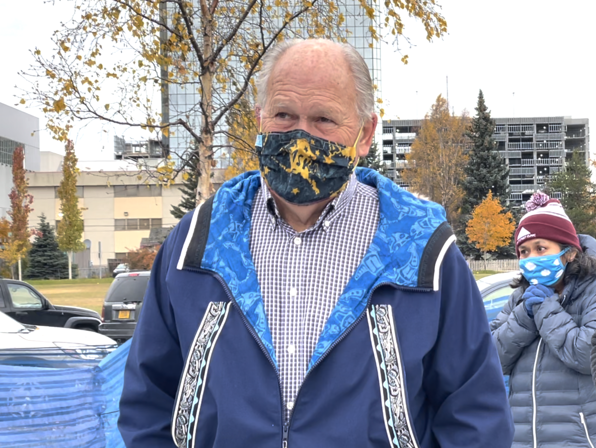 Former Alaska Gov. Bill Walker named the second Monday in October Indigenous Peoples Day in 2018. He's shown here at an opening of an Anchorage playground that was renovated to reflect Dena'Ina Athabascan culture. Oct. 11, 20221 (Photo by Joaqlin Estus)