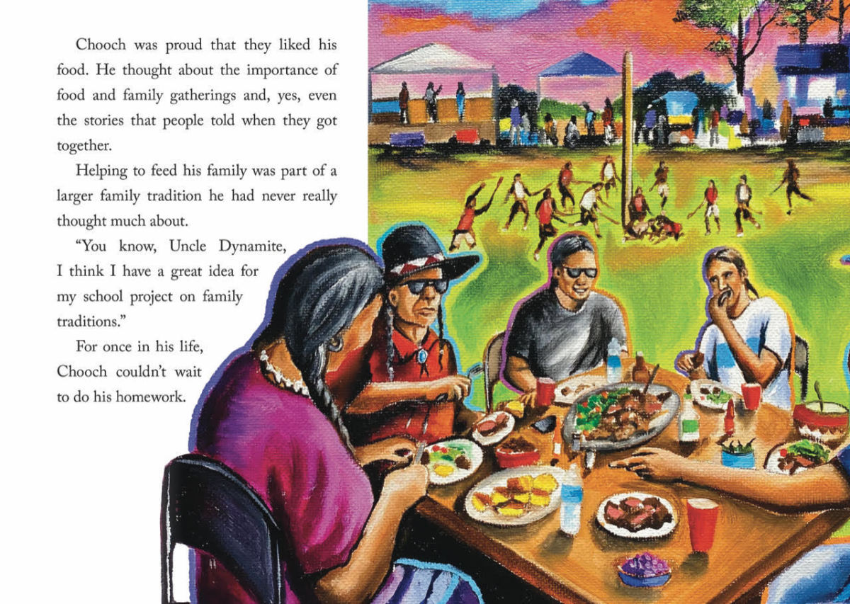 """Cherokee author Art Coulson is winning acclaim for his children's book, """"The Reluctant Storyteller,"""" about an Indigenous youth who loves to cook but resists his family tradition of storytelling. The book, published in late 2020, was illustrated by Carlin Bear Don't Walk, Northern Cheyenne and Crow. (Photo illustration courtesy of Reycraft Books)"""
