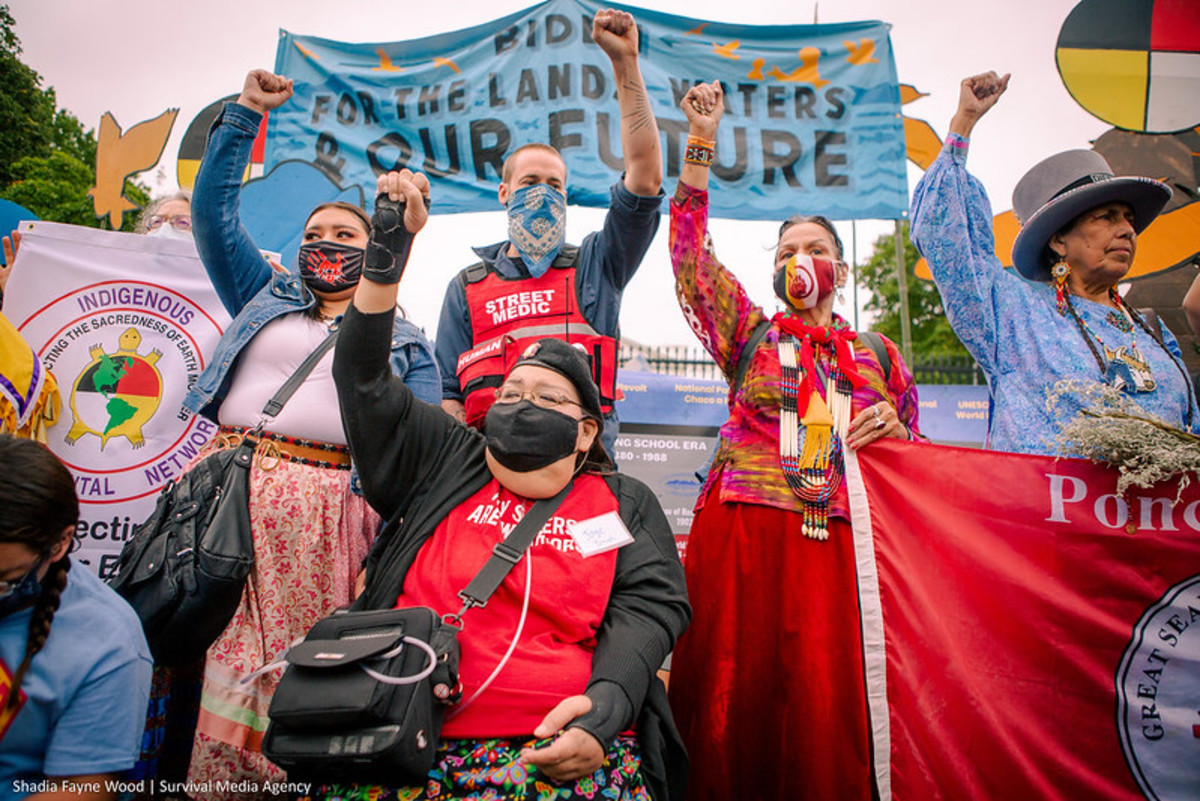 Pictured: Led by Indigenous water protectors, activists, and tribal leaders from across the country, hundreds of people took part in a protest at the White House on October 11, Indigenous Peoples Day, to demand that President Biden stop the fossil fuel projects that are threatening Native communities from Appalachia to Alaska.
