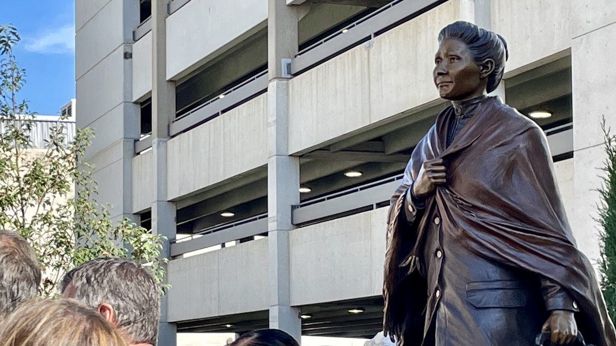 A bronze sculpture of Dr. Susan LaFlesche Picotte, Omaha Tribe of Nebraka, at Lincoln's Centennial Mall in Nebraska was unveiled on Indigenous Peoples' Day, Oct. 11, 2021. (Photo by Shirley Sneve, Indian Country Today)