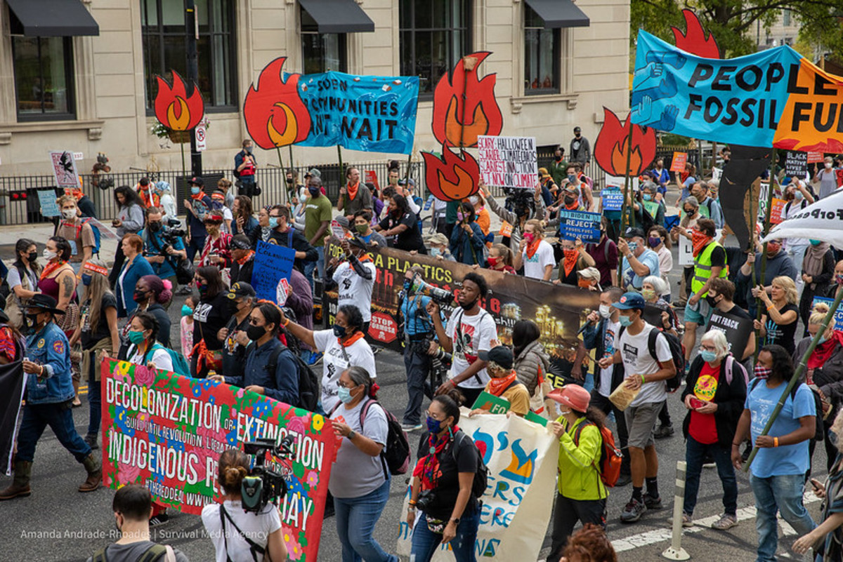 Pictured: Day 3 - 'People vs Fossil Fuels' protest. People march to the White House for a demonstration against fossil fuels on Wednesday, October 13, 2021, in Washington, DC.