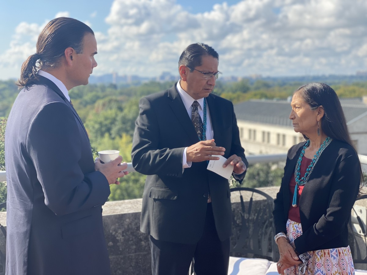 Pictured: Navajo Nation President Jonathan Nez meeting with U.S.Secretary of the Interior Deb Haaland and Assistant Secretary ofIndian Affairs Bryan Newland in Washington D.C. on October 8, 2021.