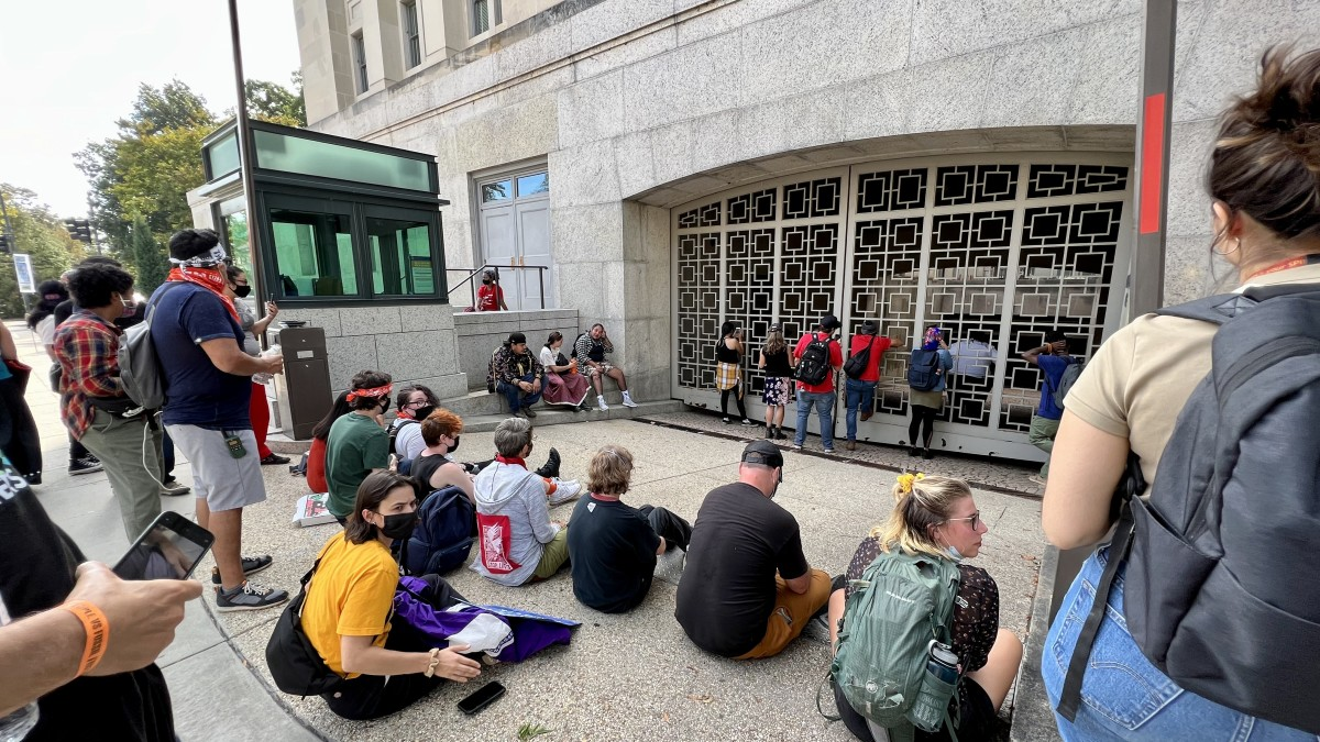 Outside the Interior Department in Washington where frontline Indigenous leaders and others held a sit in on Thursday, Oct. 14, 2021. (Photo by Jourdan Bennett-Begaye, Indian Country Today)