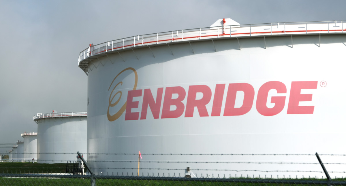 Enbridge tanks sit at the company's terminal in Superior, Wisconsin, on Oct. 8, 2021, the destination of petroleum products flowing through the newly completed Line 93. (Photo by Mary Annette Pember/Indian Country Today)