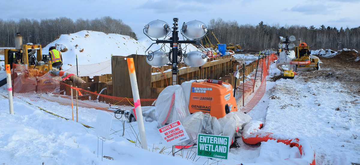 This Enbridge Line 3 worksite is shown on the Fond du Lac reservation in Minnesota in February 2021. (Photo by Mary Annette Pember)