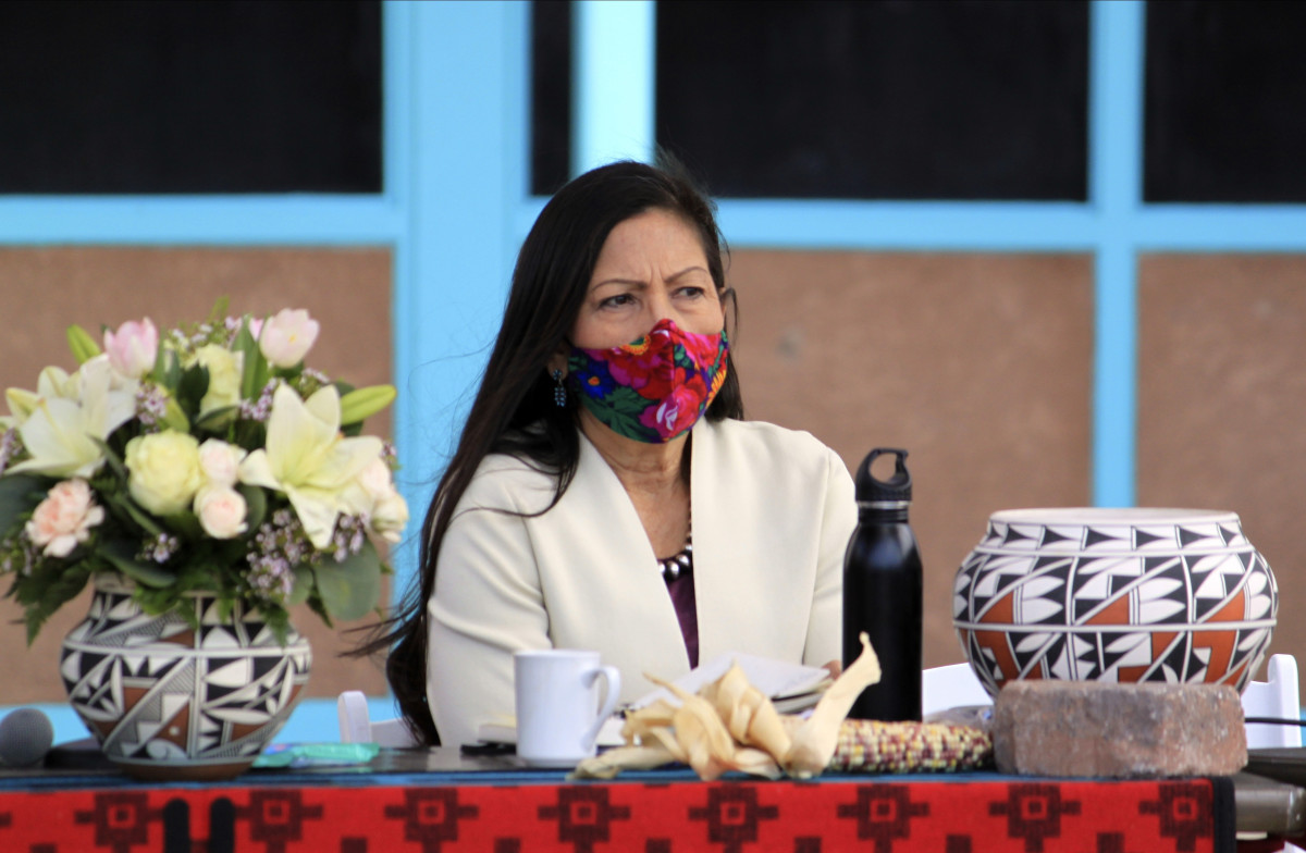 U.S. Interior Secretary Deb Haaland listens to tribal leaders during a round-table discussion at the Indian Pueblo Cultural Center in Albuquerque, New Mexico, on Tuesday, April 6, 2021. The visit marked Haaland's first to her home state after being confirmed as head of the federal agency, making her the first Native American to hold a Cabinet position. (AP Photo/Susan Montoya Bryan)