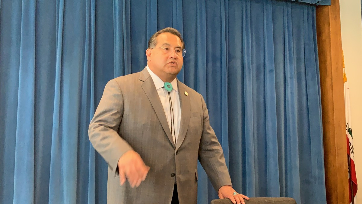 California assembly member James Ramos, San Manuel Band of Mission Indians, at Sacramento talking with Native media about the 2020 Census on April 4, 2019. (Photo by Jourdan Bennett-Begaye, Indian Country Today, File)